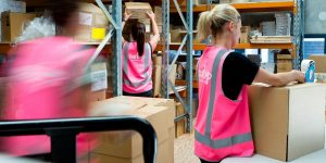 Busy Spark Up workers in warehouse storage