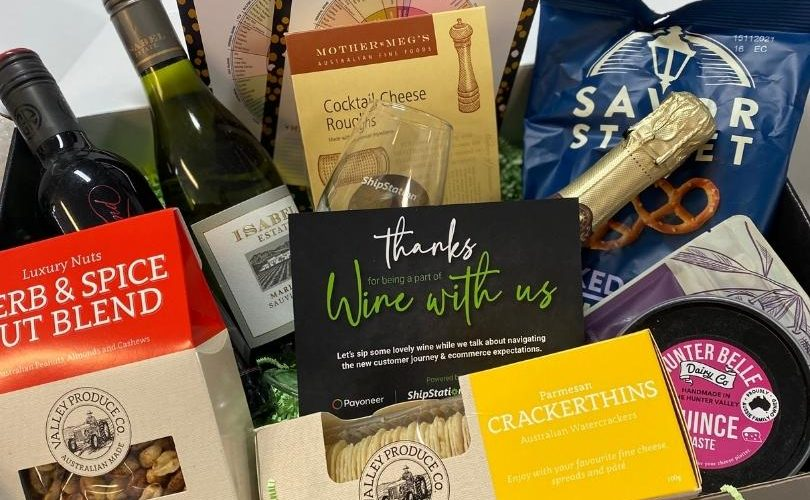 ShipStation virtual gift pack with wine and snacks